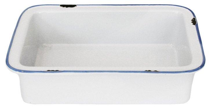 S/2 Tinware Baking Pans, White/Blue