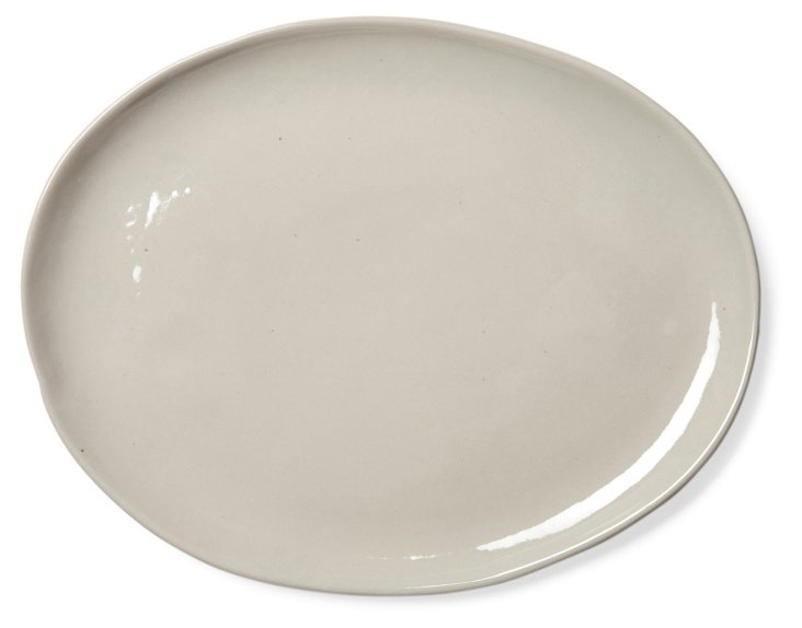 Oval Shell Bisque Platter, Neutral