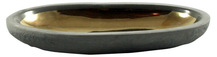 S/2 Large Gold Pebble Dishes, Charcoal
