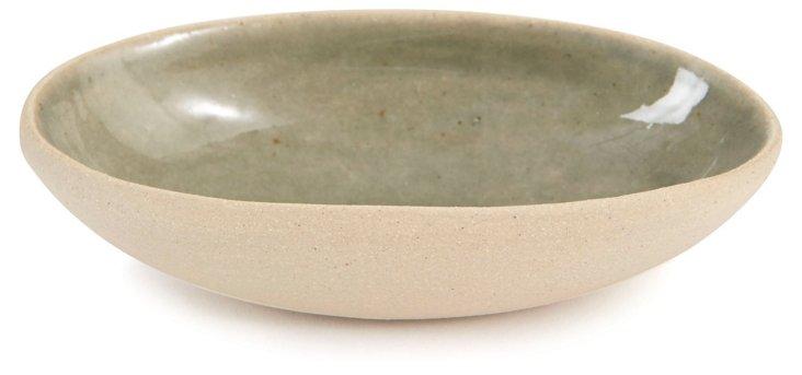 Oval Eggshell Ceramic Dish, Gray
