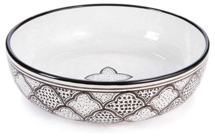 Tunis Serving Bowl, Gray/Black