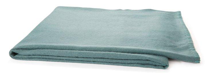 Alpaca Throw Teal w/ Turquoise Stitch