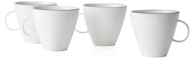DNU S/4 Abbesses Mugs, Green Trim
