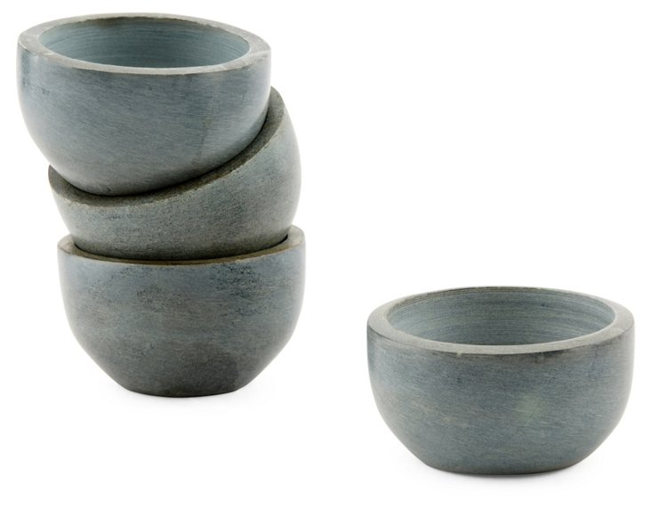 S/4 Soapstone Bowls, Gray