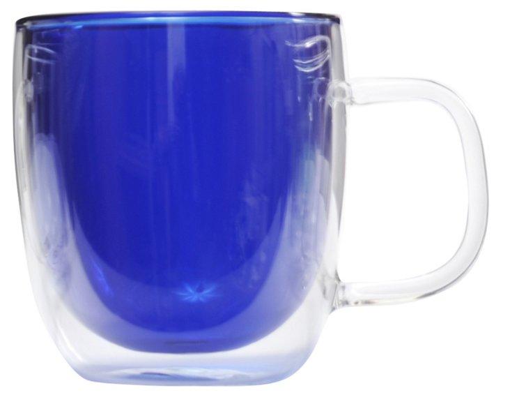 S/4 Double Wall Glass Mugs, Blue
