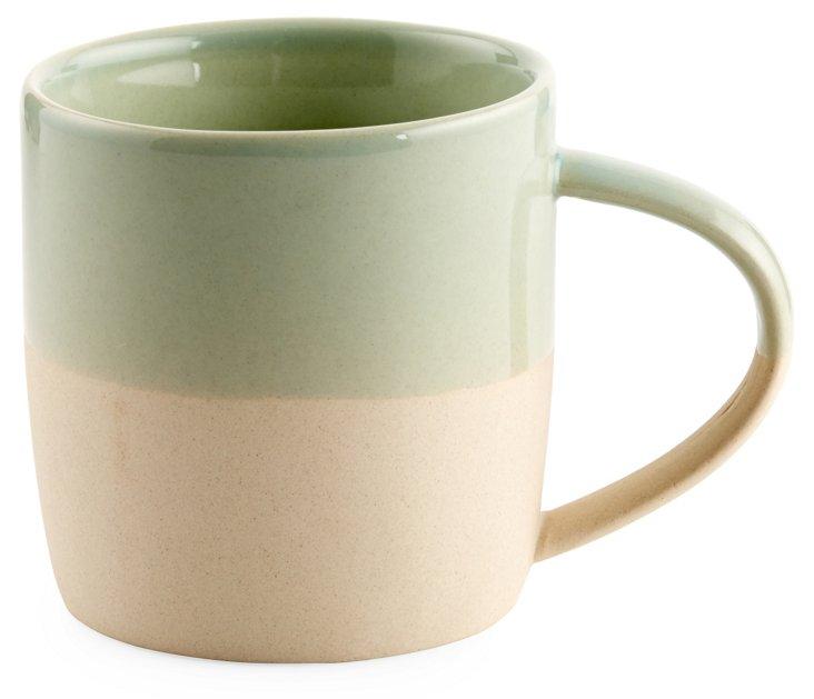 S/4 Shell Bisque Mugs, Seafoam