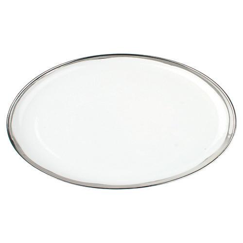 "14"" Dauville Oval Platter, Platinum"
