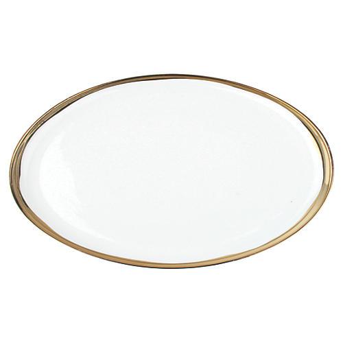 """14"""" Dauville Oval Platter, Gold"""