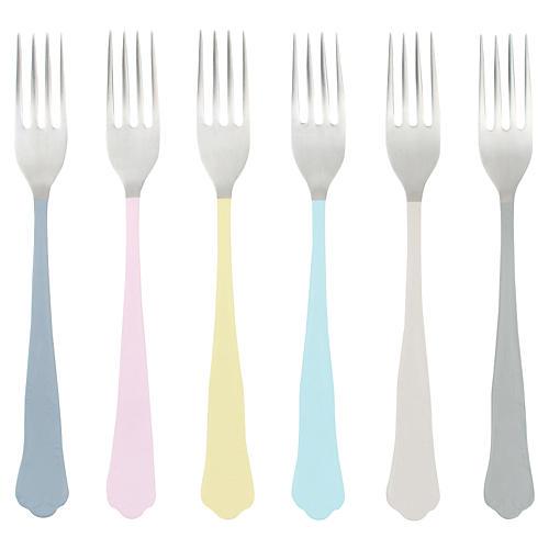 S/6 Jaipur Dessert Forks, Pastel/Multi