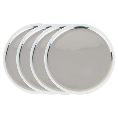 S/4 Dauville Tidbit Plates, Platinum