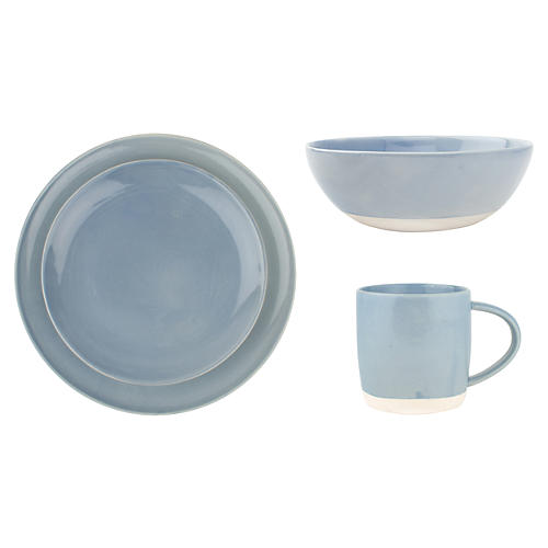 4-Pc Shell Bisque Place Setting, Blue