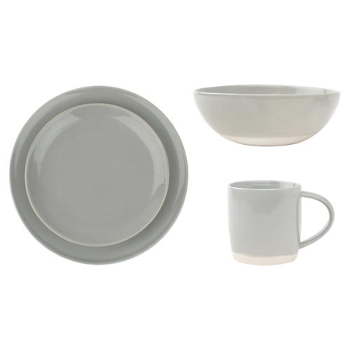 4-Pc Shell Bisque Place Setting, Gray
