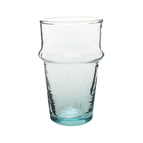 S/4 Moroccan Tea Glasses, Clear/Blue