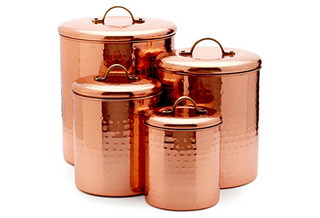 S/4 Assorted Canisters, Copper