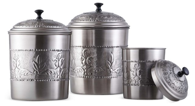 S/3 Assorted Victoria Canisters, Silver