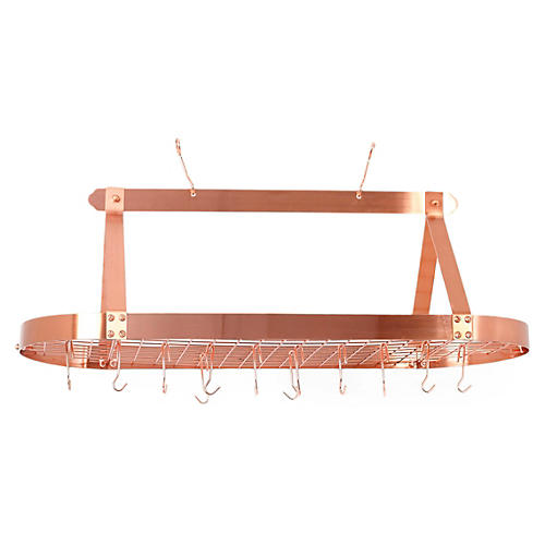24-Hook Oval Hanging Pot Rack, Copper