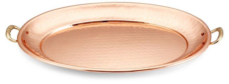 Copper-Plated Platter w/ Brass Handles
