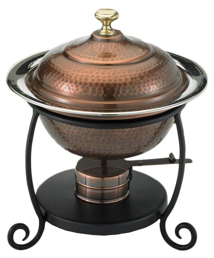 Antiqued Copper Chafing Dish, 1.75 Qt