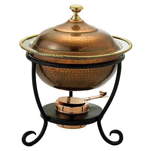 Antiqued Copper Chafing Dish, 3 Qt
