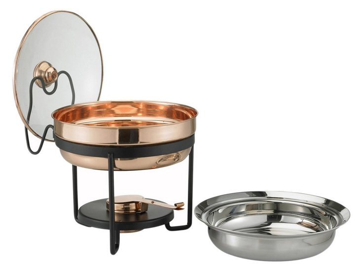 Chafing Dish w/ Glass Lid, Copper