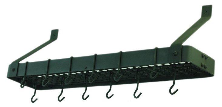 12-Hook Steel Bookshelf Pot Rack, Graphite