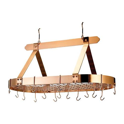 16-Hook Oval Pot Rack, Copper