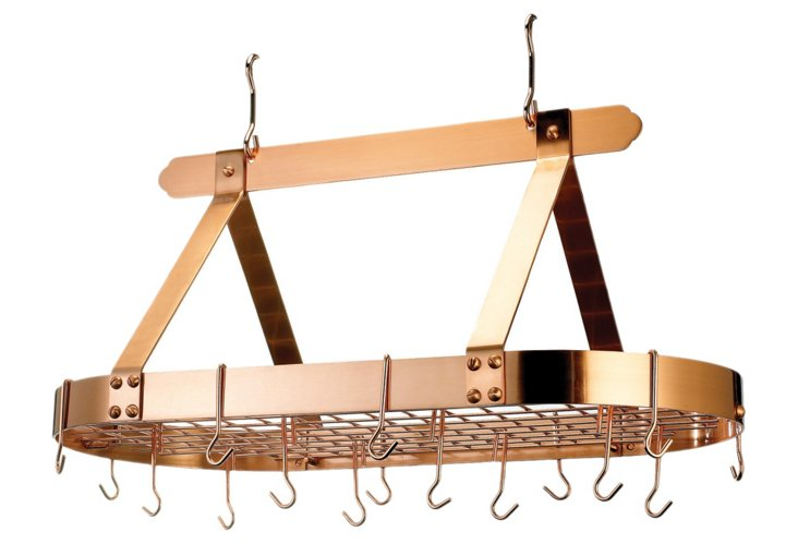 16-Hook Oval Pot Rack, Copper