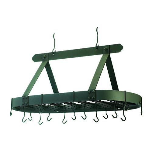 16-Hook Oval Pot Rack, Green