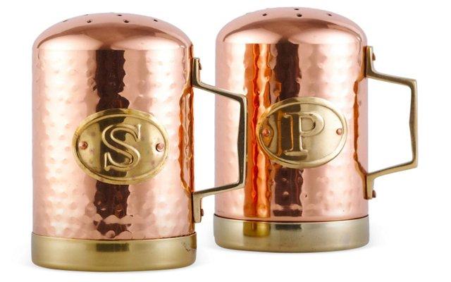 2-Pc Hammered Salt & Pepper Set, Copper