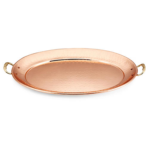 "Oval Copper Platter w/ Handles, 17"""