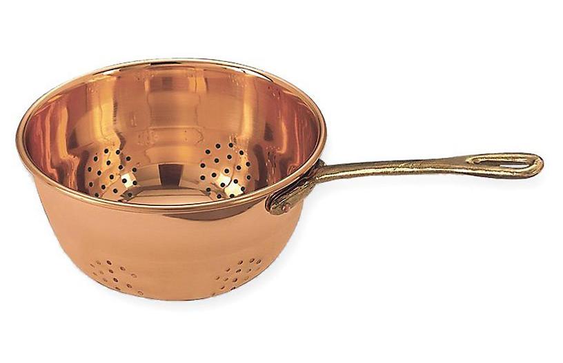 Hanging Colander w/Handle, Copper