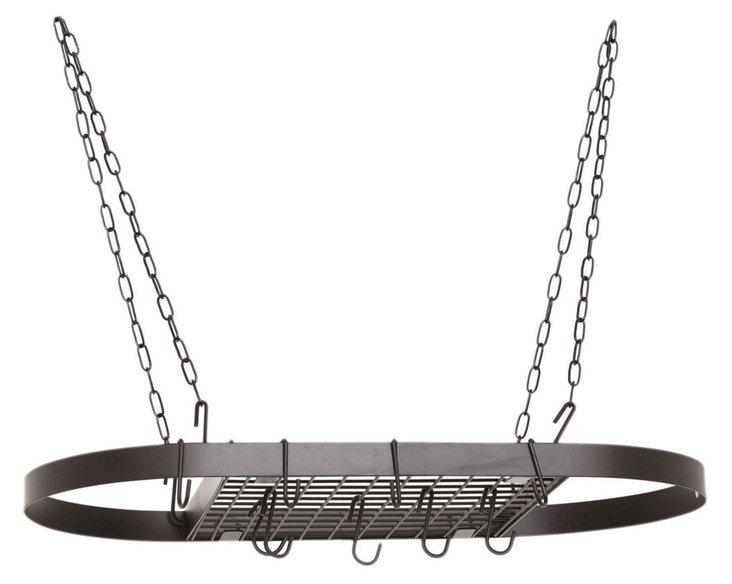 12-Hook Chain Hanging Pot Rack, Black