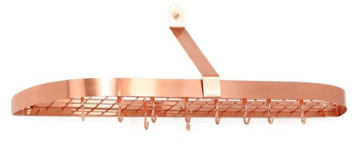 12-Hook Copper-Plated Pot Rack