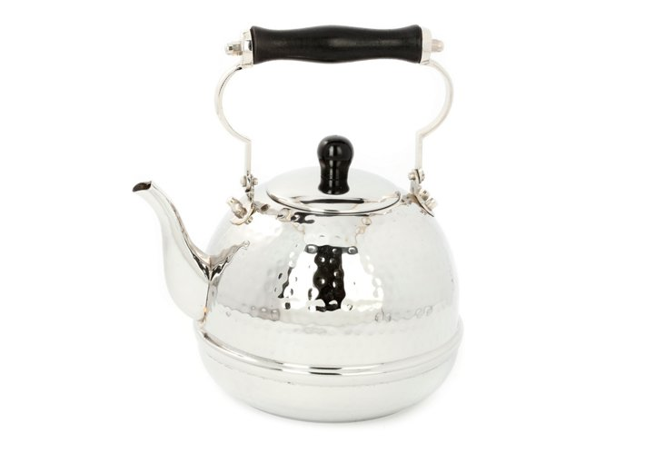 Hammered Tea Kettle, Silver