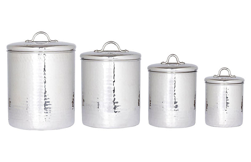 S/4 Assorted Hammered Canisters, Silver