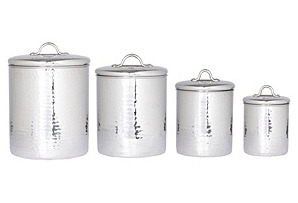 S/4 Assorted Hammered Canisters, Silver*
