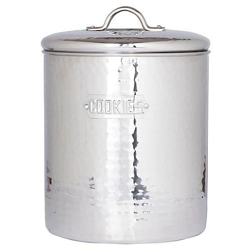 Hammered Cookie Jar, Silver