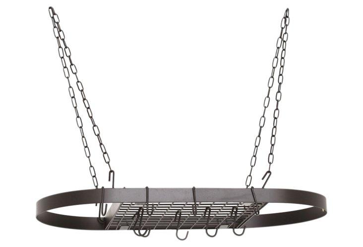 12-Hook Oval Pot Rack, Matte Black