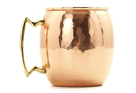 S/2 Hammered Copper Moscow Mules, 24 Oz