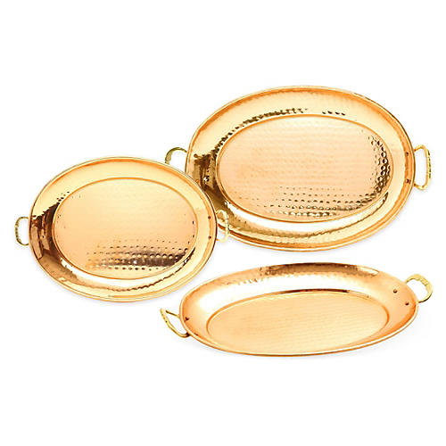 Asst. of 3 Oval Platters, Copper