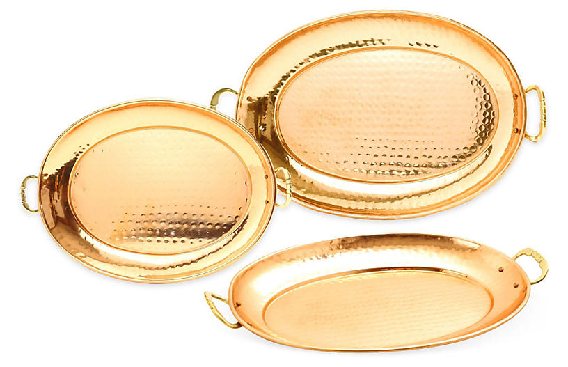 Asst. of 3 Oval Platters, Copper