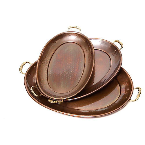 Asst. of 3 Antiqued Copper Trays