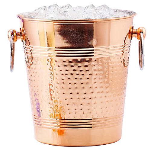 Hammered Ice Bucket, Copper