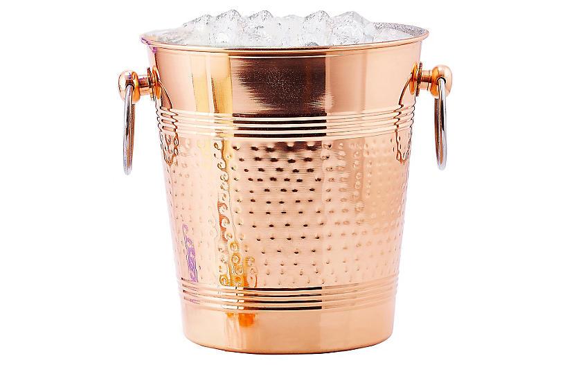 Hammered Ice Bucket, Copper