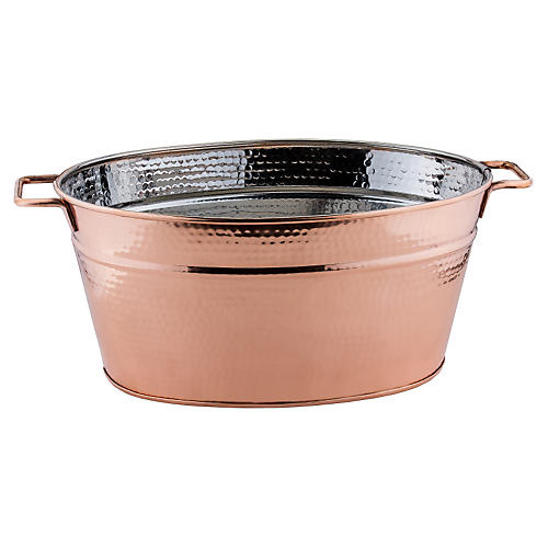 Fez Hammered Oval Beverage Tub, Copper