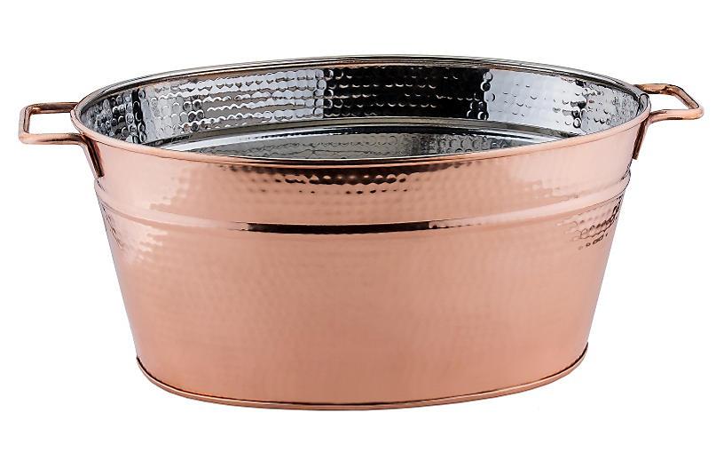 Fez Hammered Oval Beverage Tub - Copper