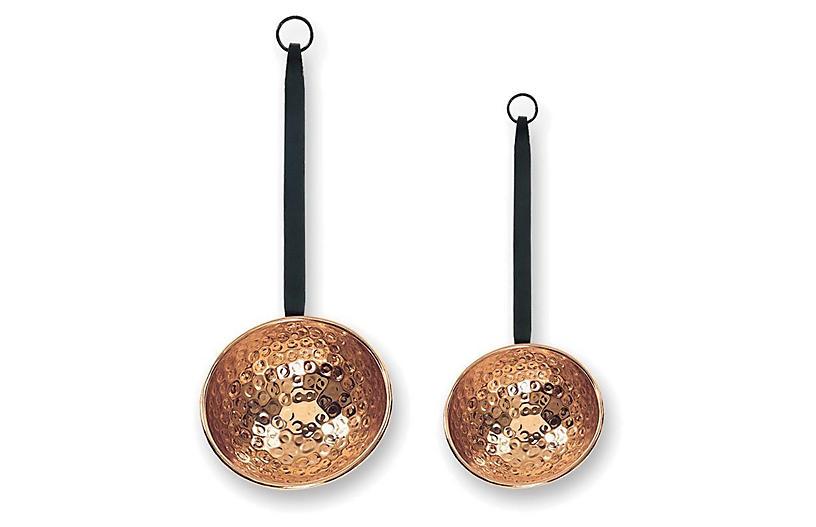 Set of 2 Oversize Copper Ladles