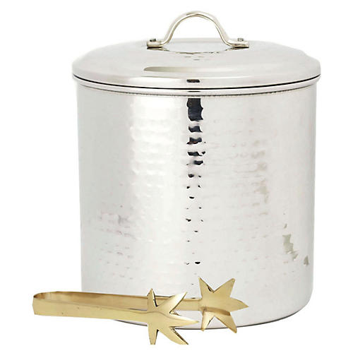 Steel Ice Bucket w/Liner & Tongs, 3 Qt.
