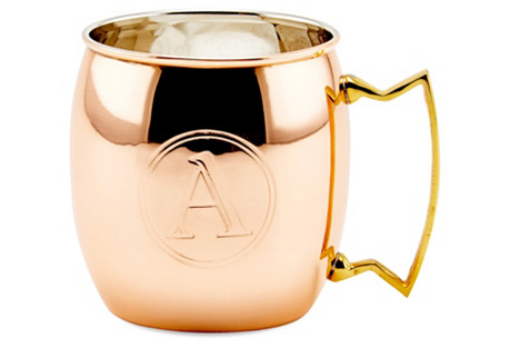 Copper Moscow Mule Mug, Monogram A, 16Oz