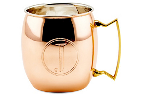 Copper Moscow Mule Mug, Monogram J, 16Oz